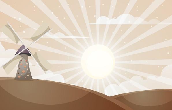 Картинка Солнце, Мельница, Рендеринг