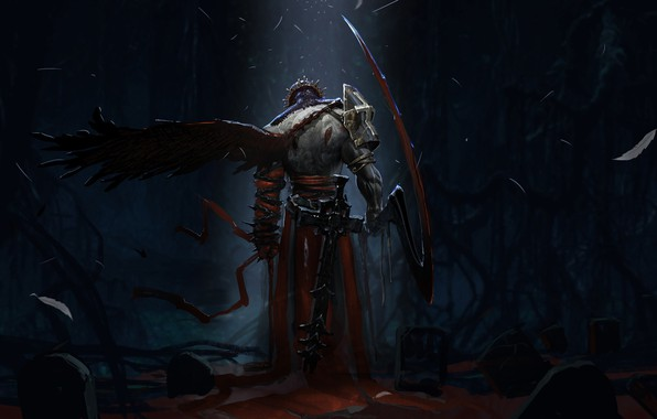 Картинка dark, sword, blood, fantasy, armor, Warrior, night, wings, cross, crown, cemetery, weapons, artwork, fantasy art, ...