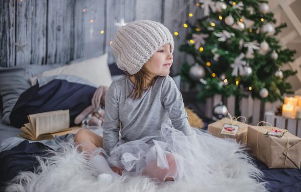 Фото обои праздник, новый год, девочка