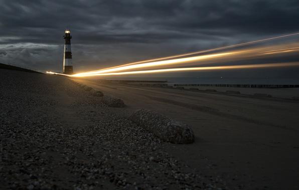 Картинка море, ночь, огни, маяк