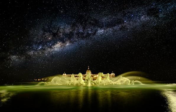 Картинка звезды, ночь, фонтан, млечный путь