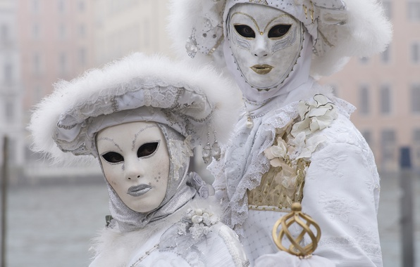 Картинка белый, пара, карнавал, маски, костюмы