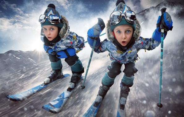 Картинка спорт, девочки, лыжи