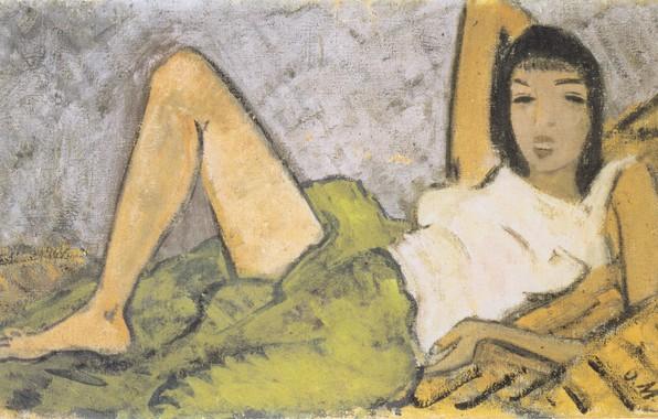 Картинка девушка, брюнетка, 1914, Экспрессионизм, Otto Mueller, Liegendes Madchen -