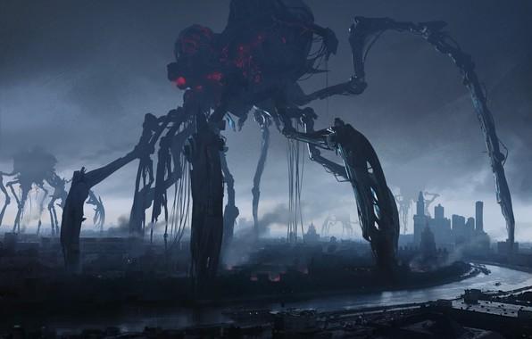 Картинка город, река, атака, нападение, вторжение, The invasion