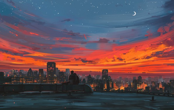 Картинка крыша, любовь, закат, романтика, тишина, арт, двое, You, Alena Aenami