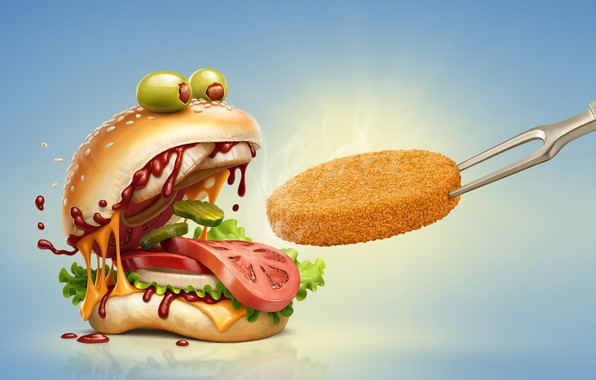 Картинка юмор, сыр, помидор, гамбургер, котлета, булочка