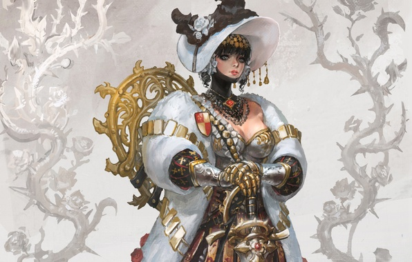 Картинка девушка, меч, шляпа, доспехи, костюм, шуба, рыцарь, Flower knight