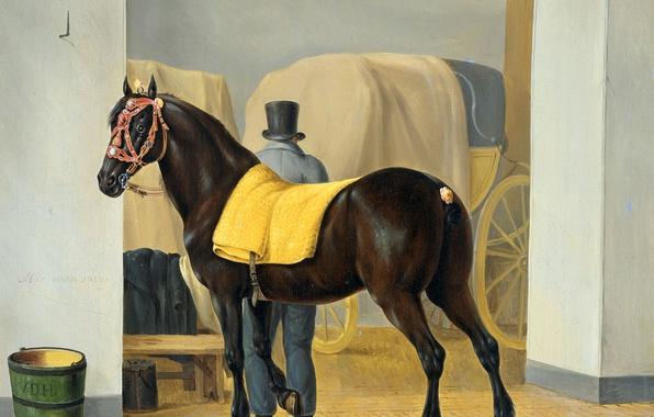 Картинка животные, лошадь, масло, картина, холст, Энтони Оберман, Рысак в Конюшне