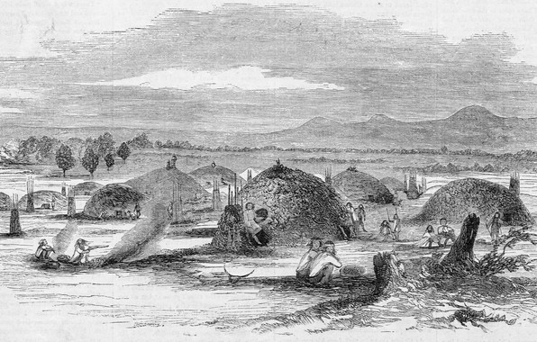 Картинка черно - белое, California. Illustration from Gleason's Pictorial, Native American 'rancheria' in Yuba City, 1852., …