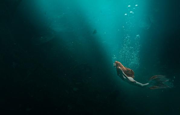 Картинка море, девушка, русалка, медузы, рыжеволосая