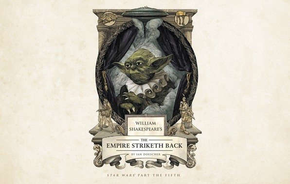 Картинка Star Wars, fantasy, minimalism, science fiction, Yoda, sci-fi, movie, film, artwork, Millennium Falcon, curtains, simple …