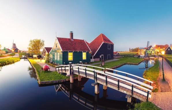 Фото обои вечер, Нидерланды, канал, огни, город, дома, мостик, утро