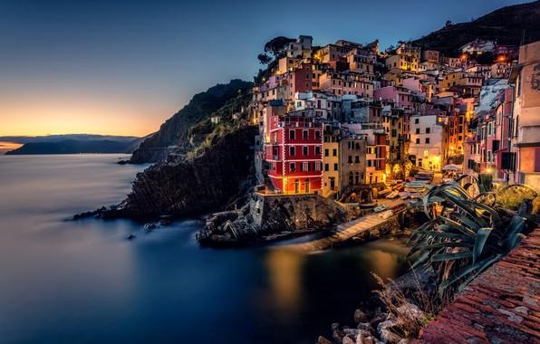 Картинка море, побережье, здания, дома, Италия, Italy, Лигурийское море, Riomaggiore, Риомаджоре, Cinque Terre, Чинкве-Терре, Лигурия, Liguria, …