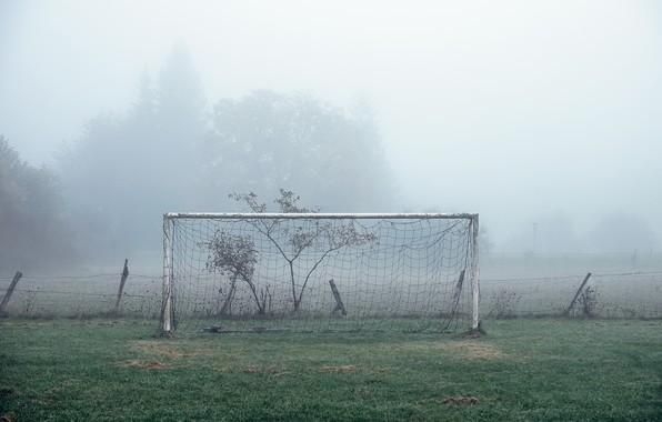 Картинка поле, туман, футбол, спорт, ворота