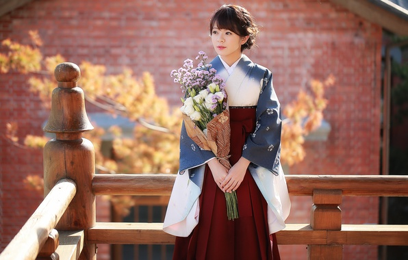 Картинка девушка, цветы, стиль, азиатка