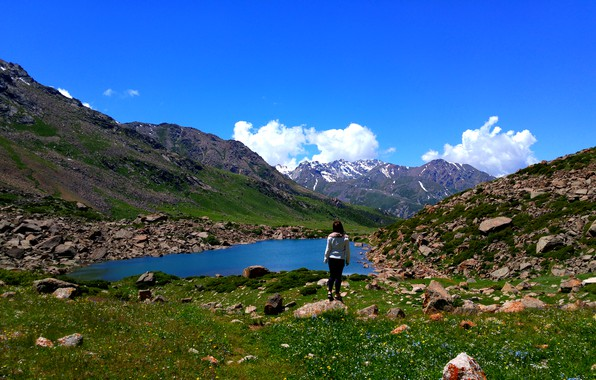 Картинка горы, озеро, вершина, ледники, горное озеро, вид на озеро