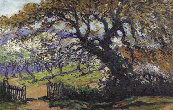 Картинка дерево, забор, картина, сад, Пейзаж, Fernand Maillaud