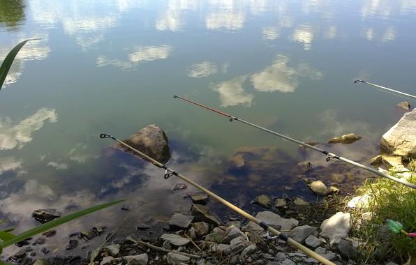 Картинка отдых, рыбалка, речка, отражение в воде, умиротворение, удочки, камни в воде