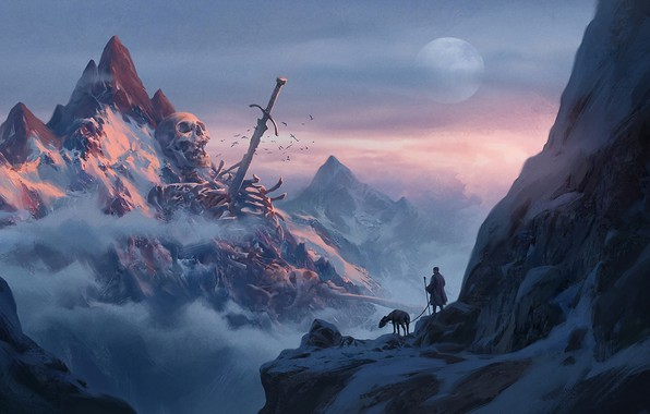 Картинка skull, moon, sword, fantasy, sky, weapon, mountains, clouds, snow, man, explorer, artwork, bones, fantasy art, ...
