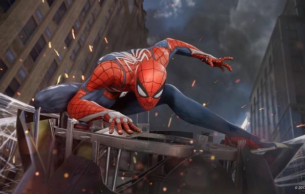 Картинка spider, game, boy, fight, mask, Spider-Man, uniform, seifuku, SpiderMan, Spider-Man Homecoming, E3 2017, Spider Man …