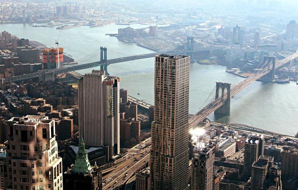 Фото обои Skydeck Chicago, панорама, дома, New York City, Чикаго, Manhattan Bridge, город, city, архитектура, Бруклинский мост, ...