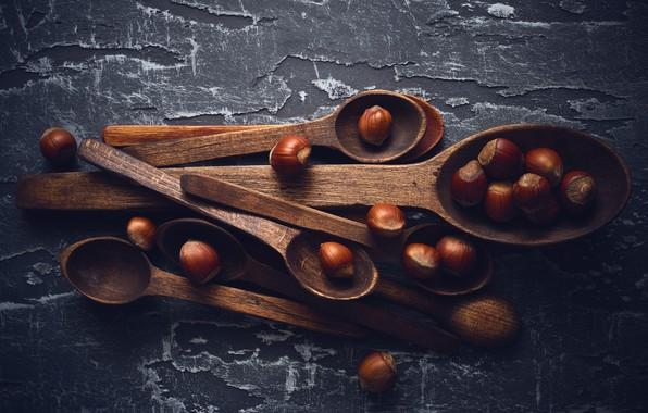 Картинка стол, текстура, лесной орех, фундук, ложки, лещина