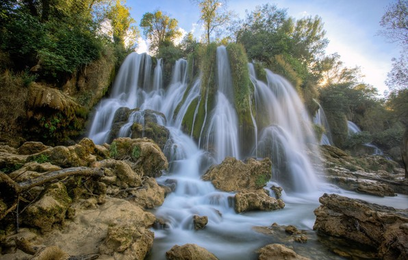 Картинка вода, водопад, потоки