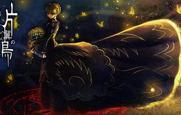 Картинка бабочки, ночь, клетка, иероглифы, ведьма, пентаграмма, челка, Umineko no Naku Koro ni, Beatrice, Когда плачут …