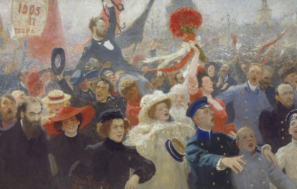 Картинка масло, Холст, 1907—1911, Илья РЕПИН, букет красных цветов, 18 октября 1905 года