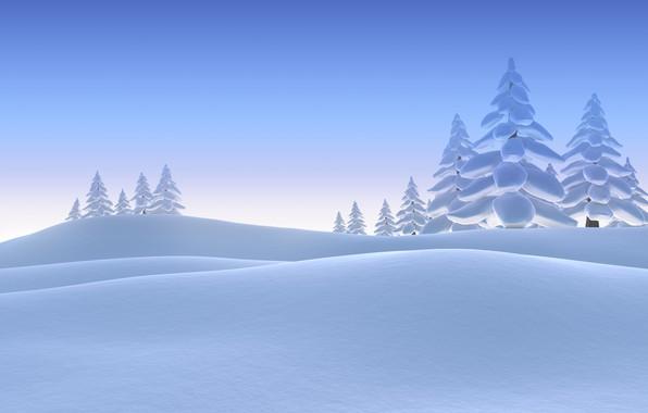 Картинка Зима, Деревья, Снег, Ель, Рендеринг, Сугробы