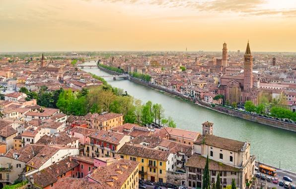 Картинка city, город, Италия, Italy, panorama, Europe, view, cityscape, travel, Верона, Verona