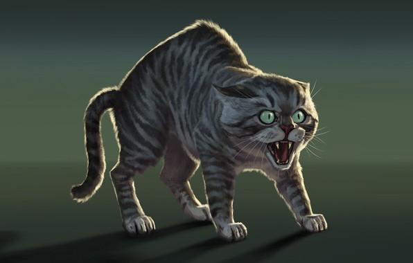 Картинка опасность, тень, хищник, шерсть, пасть, клыки, art, злобный взгляд, полосатый кот, выпученные глаза, Bmacsmith