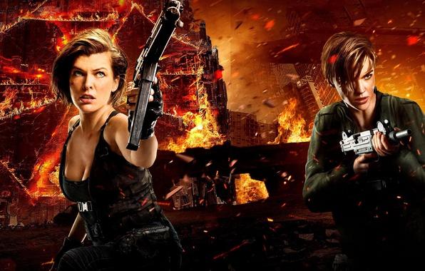 Картинка оружие, фон, фантастика, огонь, пламя, искры, боевик, постер, Милла Йовович, ужасы, Milla Jovovich, Ruby Rose, …