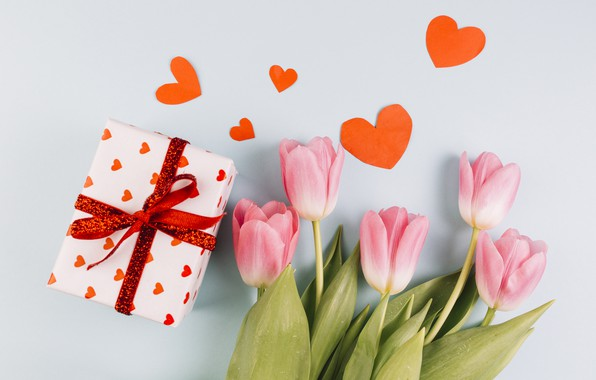 Картинка подарок, букет, сердечки, тюльпаны