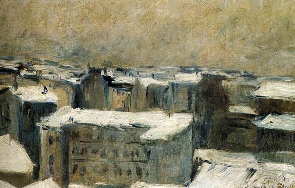 Картинка зима, пейзаж, дома, Франсис Пикабиа, трехэтажный