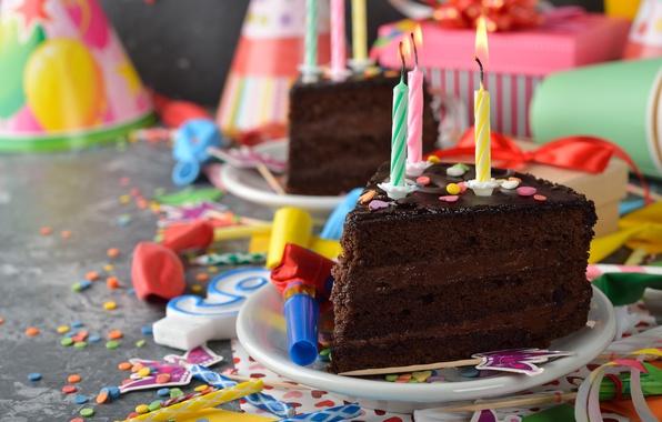 Картинка воздушные шары, свечи, торт, cake, decoration, Happy, День Рождения, Birthday