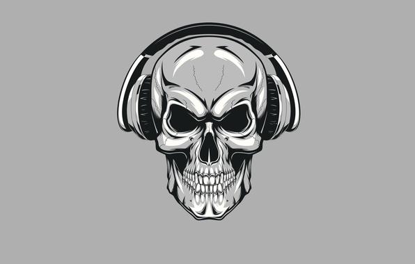 Картинка череп, минимализм, наушники, скелет, skull