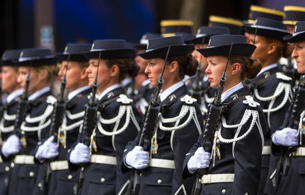 Картинка оружие, девушки, Paris, строй, French army, Parade