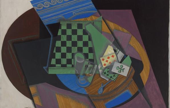 Обои 1915, Juan Gris, и игральные карты, Шахматная доска