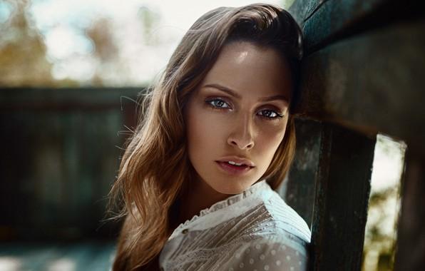 Картинка взгляд, модель, портрет, макияж, прическа, шатенка, красотка, боке, Eveline, Damian Piórko
