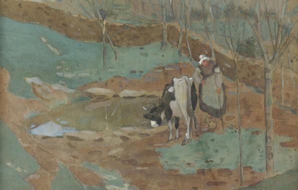 Картинка рисунок, акварель, Женщина и корова в пейзаже, Frederick Carl Frieseke