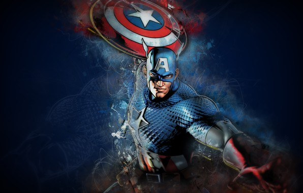 Картинка fantasy, Marvel, comics, Captain America, digital art, artwork, mask, superhero, shield, fantasy art, boulinosaure