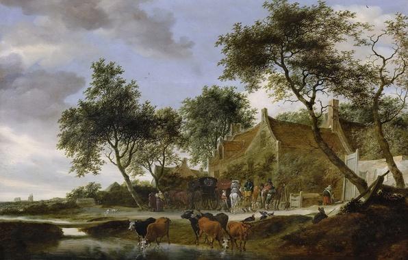 Картинка пейзаж, дома, картина, коровы, Salomon van Ruysdael, Соломон ван Рёйсдал, Pleisterplaats