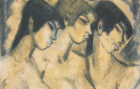 Картинка три девушки, Экспрессионизм, Отто Мюллер, Drei Madchen im Profil, ca1918