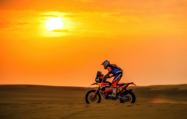 Картинка Закат, Солнце, Спорт, Скорость, Мотоцикл, Гонщик, Мото, KTM, Bike, Rally, Dakar, Дакар, Ралли, Moto, Motorbike