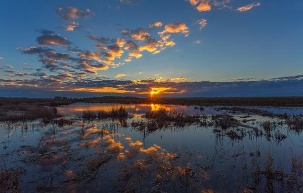 Фото обои закат, болото, Южный Урал