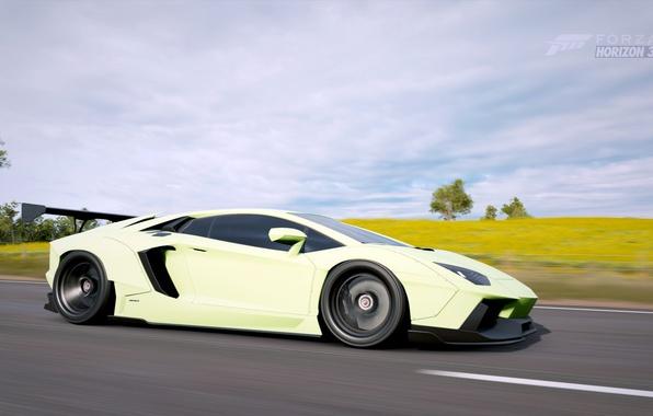 Картинка суперкар, Lamborghini Aventador, Forza Horizon 3, Lyberty walk tuning