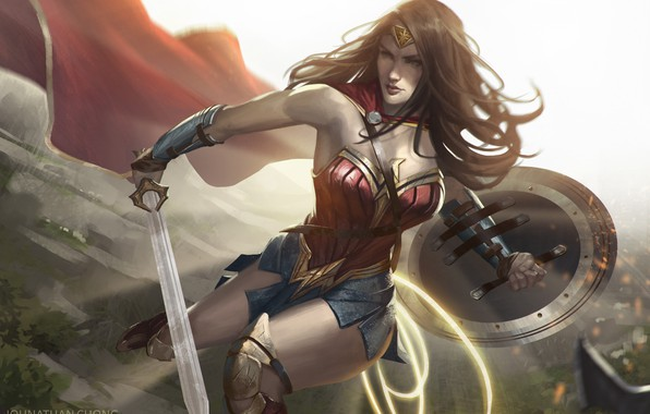Картинка Рисунок, Волосы, Меч, Костюм, Герой, Брюнетка, Плащ, Wonder Woman, Супергерой, Hero, Арт, Art, Brunette, Щит, ...