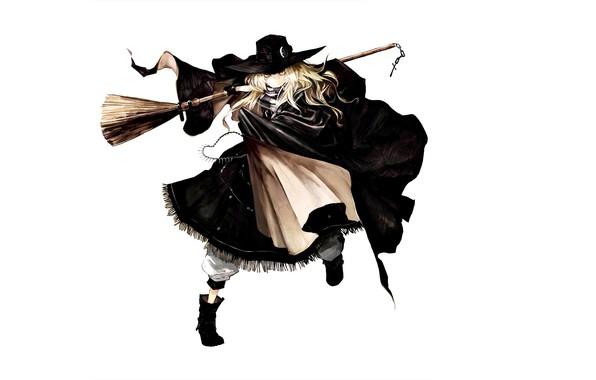 Картинка сапоги, костюм, белый фон, ведьма, метла, плащ, art, шляпа ведьмы, Touhou Project, Marisa Kirisame, Проект …